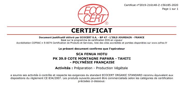 Certificat Bio Ecocert